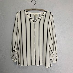 LOFT sheer striped blouse with 3/4 length sleeves
